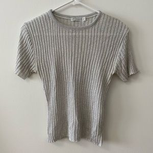 VINTAGE SILVER SPARKLY ROUND-NECK RIBBED TOP